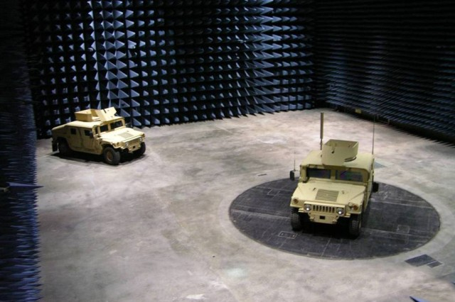 The Electromagnetic Vulnerability Assessment Facility is a secure electromagnetic spectrum research facility that houses two double-shielded anechoic chambers, each of which enable precise controlled measurements. Shown is the main shielded anechoic chamber that has a turntable capable of supporting 100-ton test vehicles and is the largest of its type in the Army.