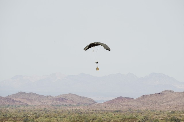 A Joint Precision Aerial Delivery System 2K system comes in for a landing at Yuma Proving Ground, Ariz.