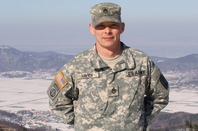 Staff Sgt. Ryan Hayes, noncommissioned officer in charge of Detachment J, was recognized by the mayor of Ganghwa Island, Republic of Korea, for keeping the trails and roads on Koryo Mountain open for hikers.
