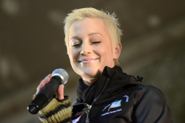 Country singer Kellie Pickler performs for the troops as part of the USO Chairman of the Joint Chiefs of Staff Holiday Tour at Bagram Air Field, Afghanistan, Dec. 15, 2012. (U.S. Army photo by Staff Sgt. David J. Overson, 115th Mobile Public Affairs Detachment)
