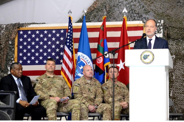 U.S. Ambassador to Afghanistan, James B. Cunningham addresses 31 service members as they await their naturalization ceremony Nov., 2, 2012, Bagram Airfield, Afghanistan.