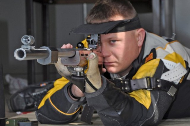 The Army recently announced the expansion of the U.S. Army Marksmanship Unit to include 24 Wounded Warriors as members of its new Paralympic and Instructor sections. Pictured here, Sgt. 1st Class Joshua Olson takes aim during a competition. Olson was the first active duty Soldier wounded in combat to represent the U.S. at the Paralympic Games.