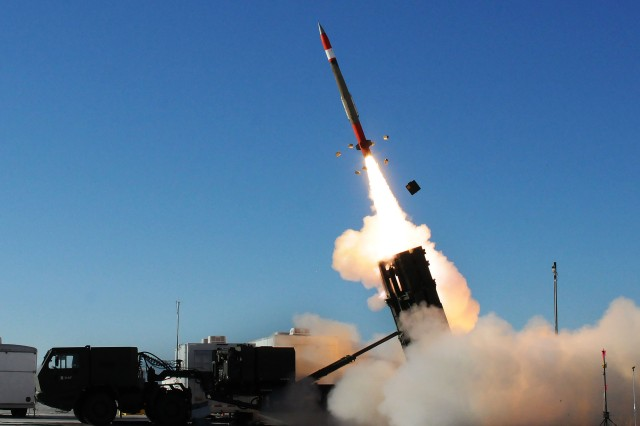 A Medium Extended Air Defense System missile launches to intercept a target during a MEADS test at White Sands Missile Range, N.M. in November.