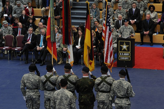 U.S. Army Europe's 38th commander, Lt. Gen. Donald Campbell speaks to the assembled representatives of U.S. Army Europe units and their German partners during the formal assumption of command ceremony, at the Clay Kaserne Fitness Center here Jan. 9. The ceremony is being held to recognize Campbell's formal assumption of command following his arrival and acceptance of command on Dec. 1, 2012.
