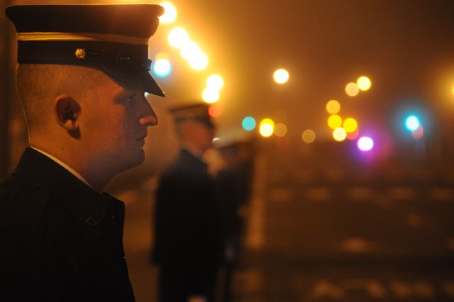 Soldiers of the 3rd U. S. Infantry Regiment (The Old Guard) line 14th Street in Washington, D.C., for the inaugural parade dress rehearsal, Jan. 13, 2013.