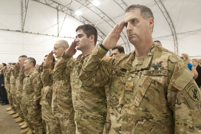 Maj. Michael Creedon (right) commanded Charlie Company, 451st Civil Affairs Battalion, during their 10-month deployment to Afghanistan.  All 32 Soldiers redeployed back in May 2012 and were recognized during a Welcome Home Warrior Citizen Ceremony.