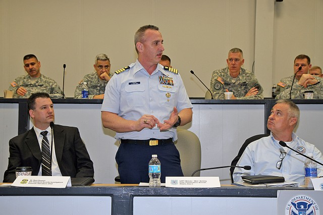 FORT SAM HOUSTON, Texas - Coast Guard Capt. Webster Balding, chief, preparedness division, Atlantic Area Five, discusses the role that the U.S. Coast Guard plays in counterdrug operations and maritime border security operations Jan. 9 during the Department of Homeland Security/Department of Defense Fiscal 2014 Concept of Support workshop. The workshop brought together military and civilian agencies tasked with providing border security, and provided those in attendance the opportunity to discuss unified actions of approach to the situation. Mark Dawson (left), chief of Immigration Customs Enforcement, Homeland Security Investigations Domestic Operations, and Chris Abbott (right), acting director, plans division, Department of Homeland Security, look on. (U.S. Army photo by Staff Sgt. Corey Baltos, Army North PAO)