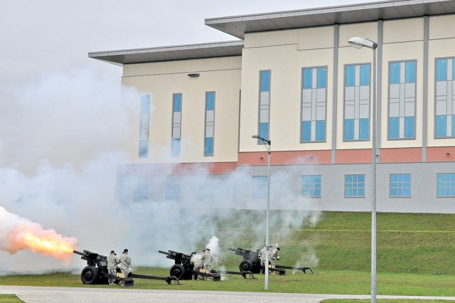 Members of the 529th Military Police Company (Salute Battery) fire cannons outside the General John Shalikashvili Mission Command Center during the USAREUR Assumption of Command Ceremony.