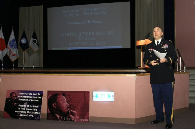 CAMP ZAMA, Japan (Jan. 16, 2013) -- Col. Michael R. Brumage, deputy commander for clinical services at BG Crawford F. Sams U.S. Army Health Clinic Japan, speaks during the Dr. Martin Luther King Jr. observance at the Camp Zama Community Activity Center Jan. 16. More than 200 people attended the ceremony.