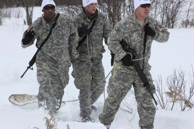 Soldiers assigned to 10th Sustainment Brigade compete in the snowshoe event during Muleskinner Challenge III on Feb. 5, 2011. The brigade will host the Mountain Winter Challenge on Feb. 20-21, physically and mentally challenging Soldiers from every brigade in Fort Drum. The event honors past 10th Mountain Division (LI) Soldiers who will never be forgotten.