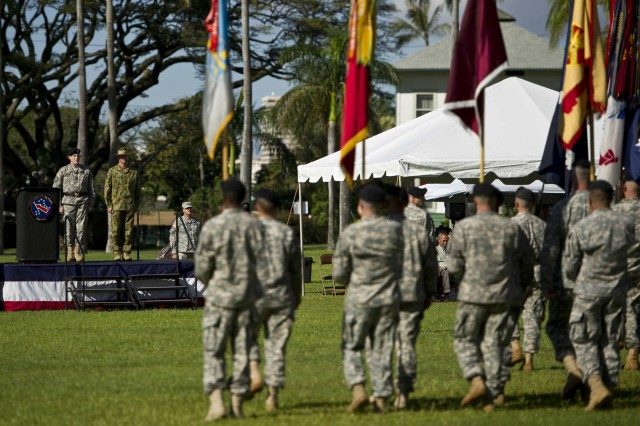 Maj. Gen. Roger Mathews (right), deputy commanding general, U.S. Army Pacific, hosted a Flying V ceremony for MAJGEN Richard Maxwell Burr (right), USARPAC deputy commanding general of operations from the Australian Defense Forces render a salute during the retiring of the colors  Jan. 17 at historic Palm Circle, Fort Shafter. The Flying V ceremony traditionally welcomes or honors senior Army officials when they assume duties or depart from an Army command. Its name refers to the V shape in which the colors are posted during the ceremony. USARPAC is the first Army Service Component Command to have coalition partner general officer to serve in the position of deputy commanding general.