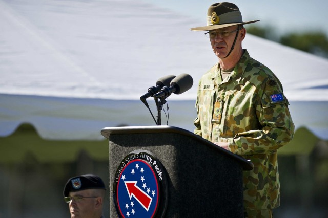 MAJGEN Richard Maxwell Burr, USARPAC deputy commanding general of operations from the Australian Defense Forces addresses the formation during a Flying V Ceremony held in his honor Jan. 17 at historic Palm Circle, Fort Shafter. The Flying V ceremony traditionally welcomes or honors senior Army officials when they assume duties or depart from an Army command. Its name refers to the V shape in which the colors are posted during the ceremony. USARPAC is the first Army Service Component Command to have coalition partner general officer to serve in the position of deputy commanding general.