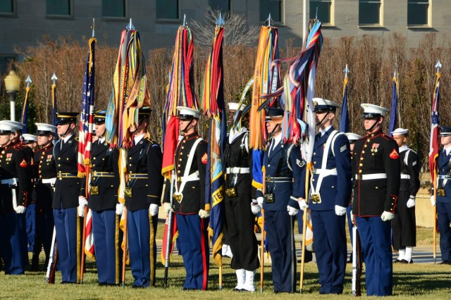 The Joint Service Color Guard performs at a welcoming ceremony for Afghan President Hamid Karzai at the Pentagon, Jan. 10. The combined unit, which performs routinely for national and international leaders, includes three Army Soldiers, two Marines and one service member each the Air Force, Navy and Coast Guard.
