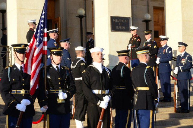 Pfc. Jon Irwin (far left), an infantryman with the Continental Color Guard, Honor Guard Company, 4th Battalion, 3rd Infantry Regiment, guards the colors for a ceremony in honor of the Chairman of Defense of Kazakhstan at the Pentagon, Jan. 10. Irwin, a Washington, Mo.-native, is scheduled to carry the U.S. Army colors as a member of the Joint Service Color Guard during the Commander in Chief inaugural ball scheduled for Jan. 21, 2013.