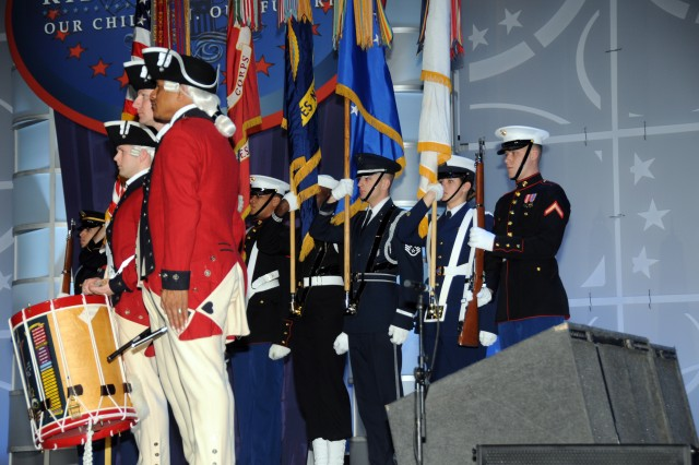 "A Joint Honor Guard and members of the 3rd US Infantry Regiment (The Old Guard) opened the ""Kids' Inaugural: Our Children. Our Future"" concert, Jan. 19, 2013, in Washington, D.C.  The children's event was in advance of the second inauguration of President Barack Obama."