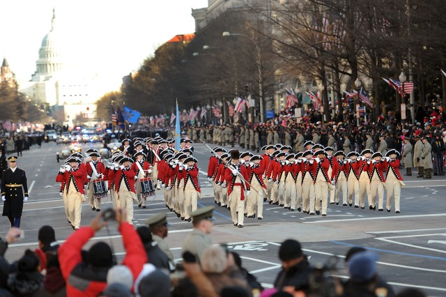 The U.S. Army Old Guard Fife and Drum Corps marches on Pennsylvania Ave. during the 57th Presidential Inauguration, Jan. 21.