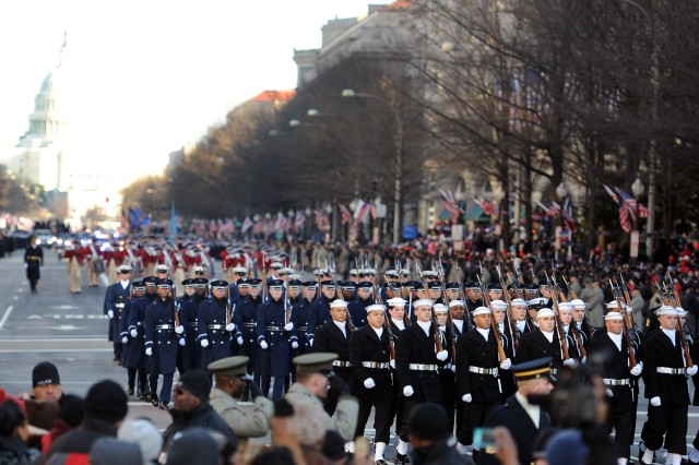 The U.S. Navy Ceremonial Guard, U.S. Air Force Honor Guard, U.S. Army's 3rd U.S. Infantry Regiment and Old Guard Fife and Drum Corps,  part of the president's escort, lead the inauguration parade for the 57th Presidential Inauguration, Jan. 21.