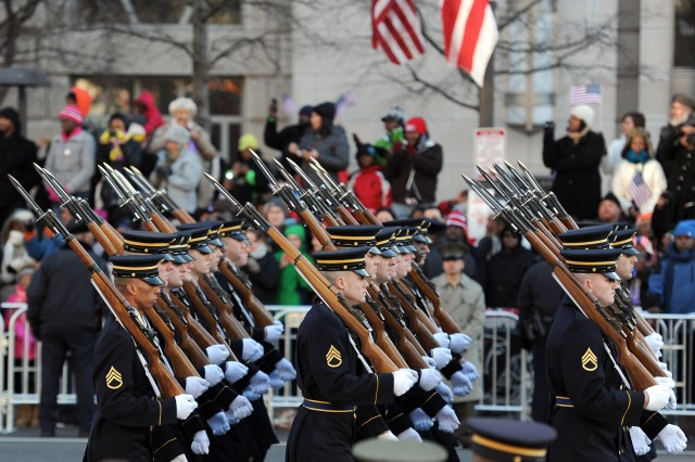 The Army's 3rd U.S. Infantry Regiment, part of the president's escort, marches in the inauguration parade for the 57th Presidential Inauguration, Jan. 21.