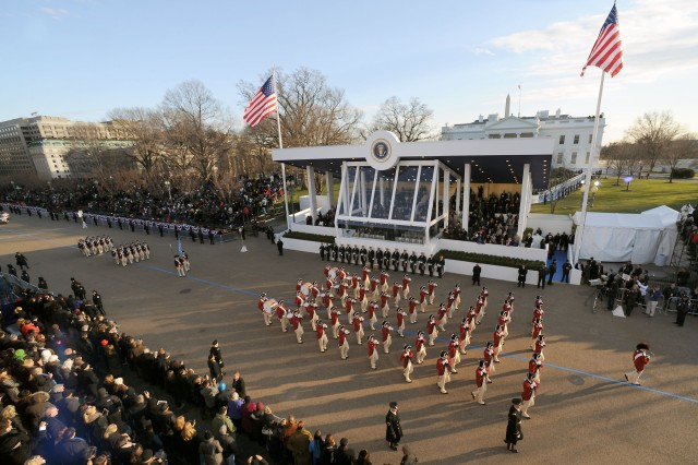 The U.S. Army Old Guard Fife and Drum Corps marches on Pennsylvania Ave., during the 57th Presidential Inauguration, Jan. 21.