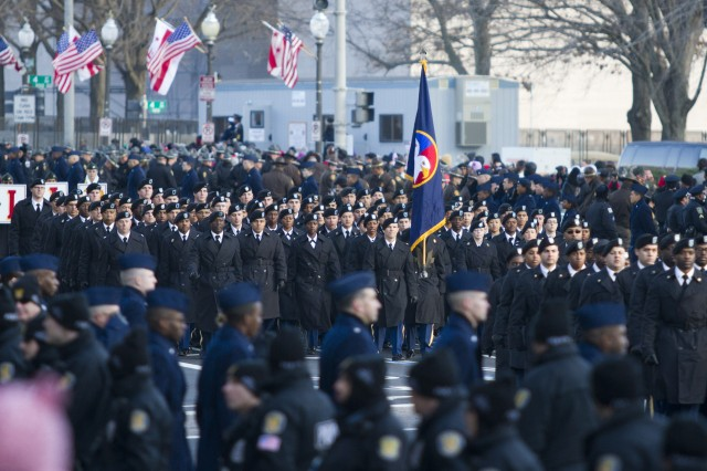Ninety Soldiers assigned to the United States Army Reserve Command march for millions during the 57th Presidential Inaugural Parade on Pennsylvania Avenue in Washington D.C. on Jan. 21.