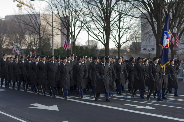 Ninety Soldiers assigned to the United States Army Reserve Command march for millions during the 57th Presidential Inaugural Parade on Pennsylvania Avenue in Washington D.C. on Jan. 21. (Army Reserve photo by Sgt. 1st Class Mark Bell)