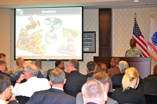More than 160 industry representatives attended an industry day featuring discussions of Foreign Military Sales in CENTCOM area of operations. Col. Sammie Hargrove, director of the USASAC's CENTCOM regional operations, provided information during the event held April 16, 2012.