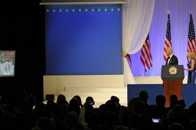 Vice President Joe Biden talks with service members stationed in Korea via televideo at the Commander-in-Chief Inaugural Ball, Jan. 21, 2013, in Washington, D.C.