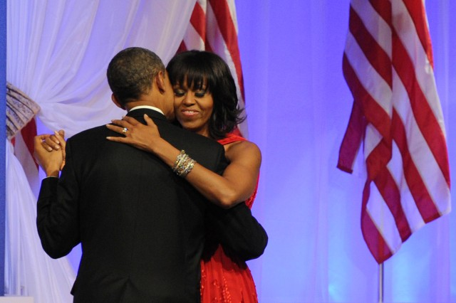 President Barack Obama and first lady Michelle Obama take their first dance of his second term at the Commander-in-Chief Inaugural Ball, Sept. 2, 2013, in Washington, D.C.