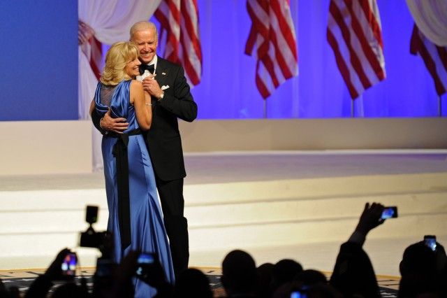 Vice President Joe Biden and wife Jill take a spin on the stage at the Commander-in-Chief Inaugural Ball celebrating the start of the second term of President Barack Obama, Jan. 21, 2013.