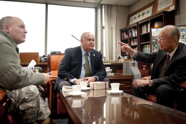 "Under Secretary of the Army Joseph W. Westphal (center) and Maj. Gen. Walter M. Golden, Jr. (right), deputy commanding general, Eighth United States Army, meet General (Ret.) Paik Yun Sup, the Korean Army's first four star general, 17 Jan. 2013, Seoul, Republic of South Korea (ROK). During his remarkable career, General (Ret.) Paik Yun Sup served as commander of the First Field Army, the Army Chief of Staff, and the Chairman for the ROK Joint Chiefs of Staff until his retirement in May 1960. Following his military career, General (Ret.) Paik Yun Sup served as Korea's Ambassador to the Republic of China on Taiwan, France, and Canada. He also served as Minister of Transportation and is credited with the development of the Seoul Metropolitan Subway. Moreover, General (Ret.) Paik Yun Sup is the author of ""From Pusan to Panmunjom: Wartime Memoirs of the Republic of Korea's First Four-Star General, Paik Sun Yup"". Under Secretary Westphal's visit to Korea underscores the strength of the ROK-U.S. Alliance and the U.S. Army's commitment to sustain land power in the Asia Pacific region. (U.S. Army photo by Staff Sgt. Bernardo Fuller)"