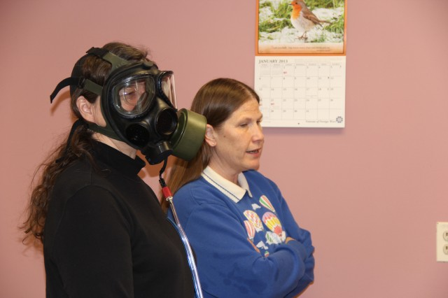 The mask fit testing including 8, one-minute exercises that are designed to stress the mask's ability to seal to the subject's fact and include actions such as normal breathing, deep breathing and reaching to the floor and ceiling.