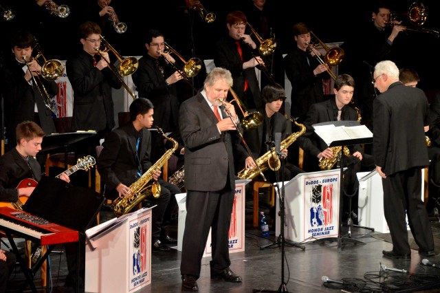 Jiggs Whigham, a well-known jazz trombonist, jams with student musicians from Department of Defense Dependents Schools in Europe during a Jan. 17 performance at the Stadthalle in Landstuhl, Germany
