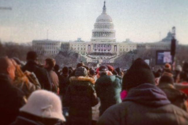 First Army Division East Soldiers were selected to attend the inauguration, as well as the Commander in Chief Ball, on Jan. 21, in Washington, D.C. Seen here is a view from where some of the Soldiers were standing.