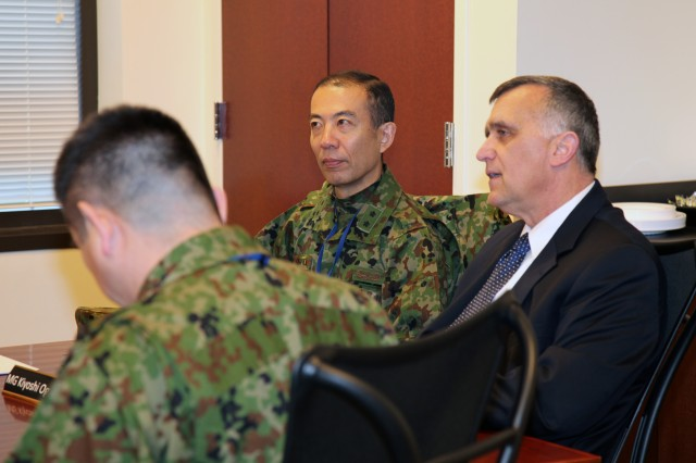 John E. Hall, U.S. Army Logistics University president, discussed with Maj. Gen. Kiyoshi Ogawa, Logistics Department Ground Staff Office director, Japan Ground Self Defense Force, the current and future multi-functional training to logistics leaders. The JGSDF members visited the university as part of a three-day logistics-orientated tour which included visits to the Pentagon and Joint Base Langley-Eustis, Va.