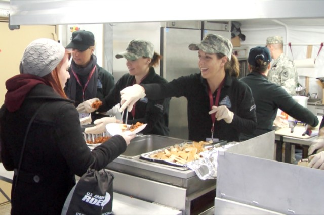 Students line up for lunch in the Containerized Kitchen at the Army Strong Zone in San Antonio Jan. 5.  The kitchen is self-contained and can feed up to 800 soldiers three hot meals a day.