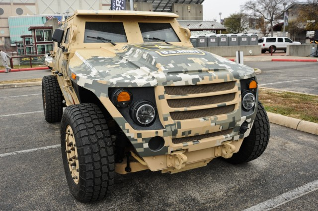 The Fuel Efficient Demonstrator concept vehicle Alpha was on display in the Army Strong Zone in San Antonio Jan. 5.  The vehicle can do the same mission as the up-armored Humvee but is 70 percent more fuel efficient.