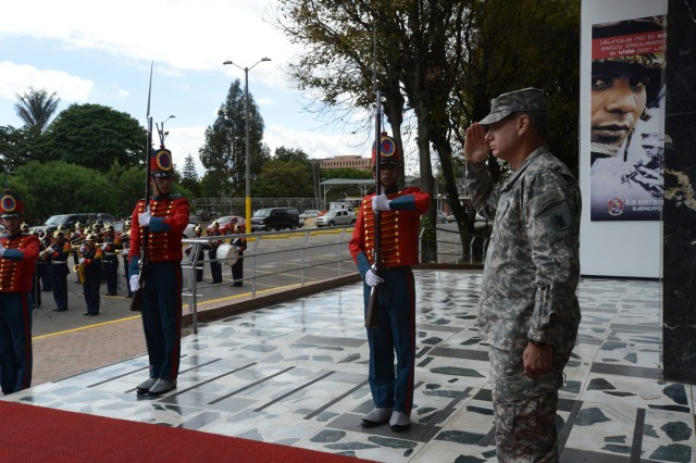"BOGOTA, Colombia "" Maj. Gen. Frederick S. Rudesheim (right), U.S. Army South commanding general, salutes upon his arrival at the Colombian military headquarters in Bogota, Colombia Jan. 22. (U.S. Army photo by Robert R. Ramon, U.S. Army South Public Affairs)"
