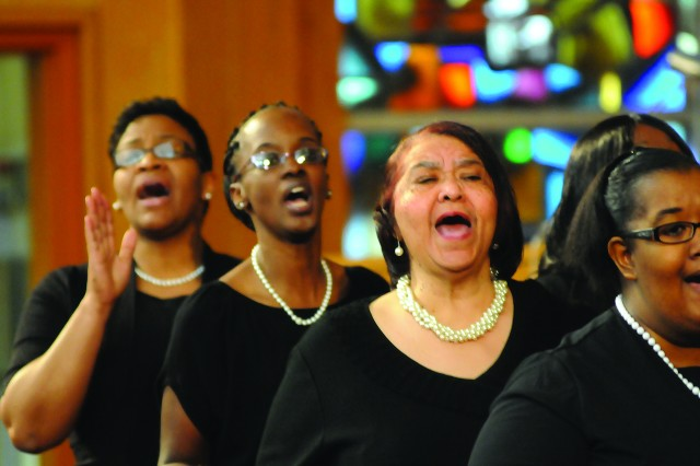 "Petersburg's Third Baptist Church Choir ""  left to right, Vickie Helm, Tawanda Walker and LaVern Smith "" exult during a gospel music performance."
