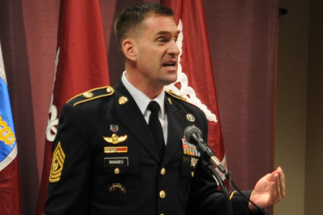 Command Sgt. Maj. Andrew J. Rhoades, command sergeant major of the Brian Allgood 121st Command Support Hospital, served with Allgood earlier in his career.