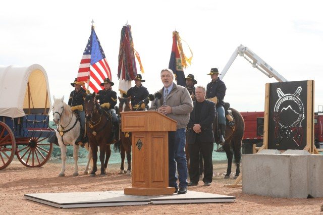FORT CARSON, Colo. -- El Paso County Commissioner Board Chair Dennis Hisey addresses attendees at the opening of the Cheyenne Mountain Shooting Complex, Wednesday. Fort Carson and El Paso County officials worked together for more than three years to see the complex to fruition.