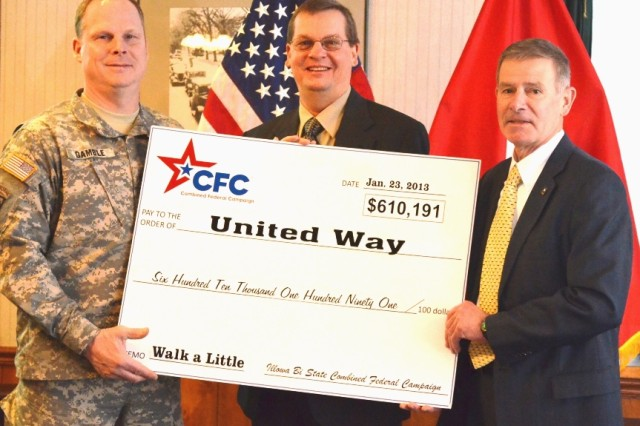 Brig. Gen. Duane A. Gamble,  ASC deputy commanding general, and Joel Himsl, Rock Island Arsenal  garrison manager (right), present Rick Widdel with a check to United Way Jan. 23 at Rock Island Arsenal, Ill.