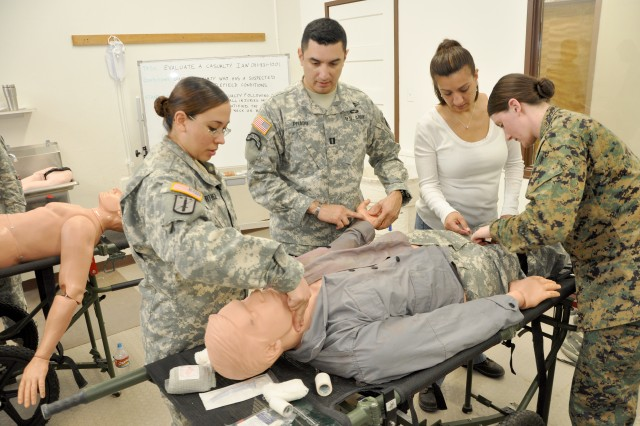 JCRX-13 participants learn various first aid techniques during the warriors skills training portion of the exercise. More than 300 military and civilian contracting professionals converged on Fort Bliss, Texas, Jan. 13-31, to prepare for possible deployment in support of contingency operations worldwide.