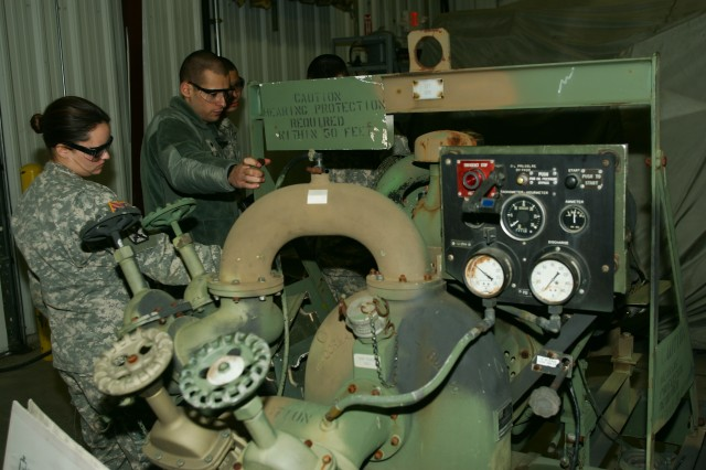 Quartermaster training at Regional Training Site-Maintenance Fort McCoy teaches students about the workings and maintenance requirements of a pump.