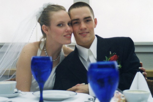 Newlyweds Clint and Tammy Romesha on their wedding day, February 13, 2000.