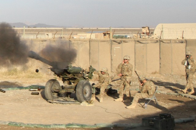 "A howitzer team assigned to Battery B, 3rd Battalion, 320th Field Artillery Regiment, 3rd Brigade Combat Team ""Rakkasans,"" 101st Airborne Division (Air Assault), fires their M119A2 Howitzer during a live-fire exercise at Camp Clark, Afghanistan, Jan. 14, 2013. The 105mm was shot in support of a training mission to certify forward observers from the 1st Squadron, 33rd Cavalry Regiment."