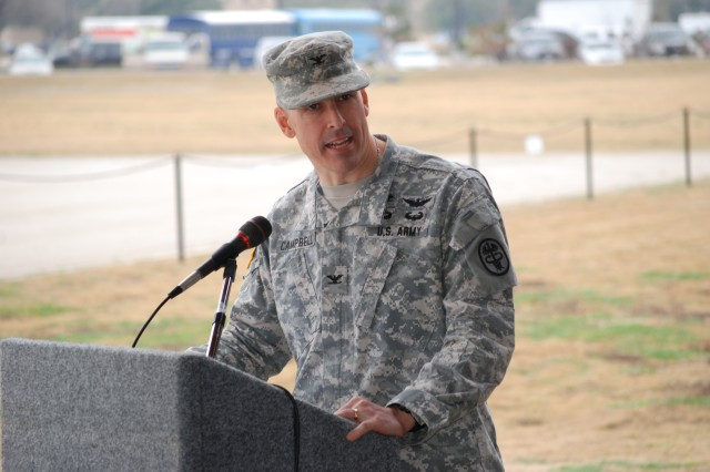 Incoming Commander Col. Kyle D. Campbell addresses the audience in a Change of Command/Responsibility ceremony Jan. 24 at the Joint Base San Antonio-Fort Sam Houston's MacArthur Parade Field.