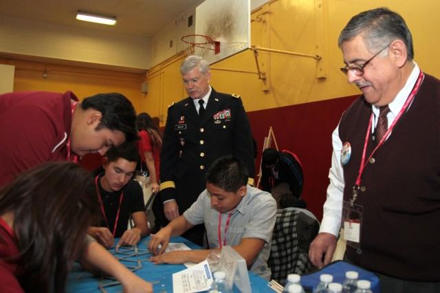 Deputy Commanding General for Civil and Emergency Operations Maj. Gen. Michael J. Walsh looks on during Great Minds in STEM's Viva Technology Day at Roosevelt High School in Los Angeles, Jan. 18 2013. According to the U.S. Bureau of Labor Statistics, more than half of the 30 fastest-growing occupations through 2018 are science, technology, engineering and mathematics, or STEM-related. Environmental engineers are leading the way at an expected 31 percent job growth.