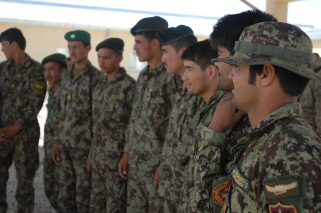 Afghan National Army engineers attend class at the ANA Engineer Schoolhouse in Regional Command-north, Afghanistan. During the course of the deployment, Joint Task Force Empire concentrated partnership efforts with 38 ANA units. The brigade units partnered with approximately 3,600 ANA soldiers.