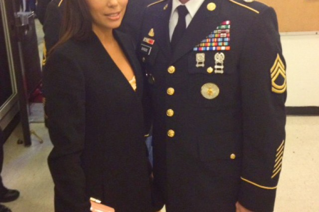 Sgt. 1st Class Aldemar Burgos Rivera poses with actress Eva Longoria at the Latino Inaugural Gala at the Kennedy Center in Washington, D.C., Jan. 20, 2013. Longoria hosted the event.