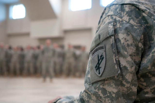 Soldiers of the 303rd Tactical Psychological Operation Company stand in formation during their mobilization ceremony.  The 303rd will spend the next month at Joint Base McGuire-Dix-Lakehurst for mobilization training then will spend nine months in Afghanistan providing military information support operation with the Marines